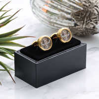 personalised gold plated moving mechanism cufflinks
