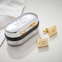 Personalised Gold Finish Rectangle Cufflinks