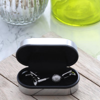 personalised Golf Ball and Tee Cufflinks Gift Set