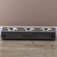 personalised grey triple pet feeder