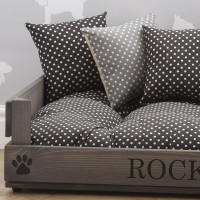 personalised luxury grey wooden pet bed