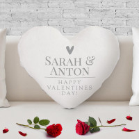 personalised Couple Names Heart Shaped Cushion