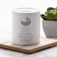 personalised Grey My First Personalised Money Box