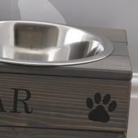 personalised Grey Double Raised Feeding Bowl