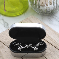 personalised Dumbbell Cufflinks Gift Set