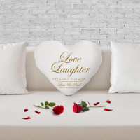 personalised Love Laughter Heart Shaped Cushion