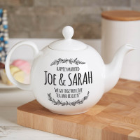 personalised Happily Married teapot