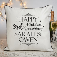 Personalised 3rd anniversary piped cushion