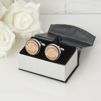 personalised Wedding Anniversary Wooden Cufflinks
