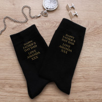 personalised Happy Father's Day Black Socks