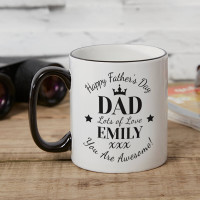 personalised Happy Father's Day Tone Mug Black