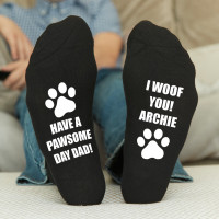 personalised Have a Pawsome Day Black Socks