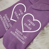 personalised 1st Wedding anniversary Purple Socks