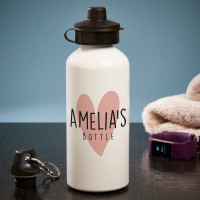 personalised Heart White Water Bottle