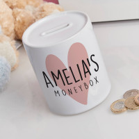 personalised Love Heart Personalised Money Box