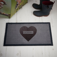 personalised heart name doormat