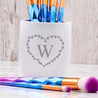 personalised heart monogram pen pot