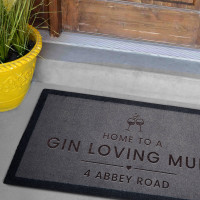 personalised Gin Loving Mum Grey Doormat