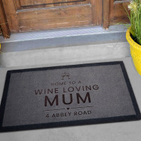 personalised Wine Loving Mum Grey Doormat