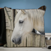 personalised Horse Piped Edge Photo Cushion