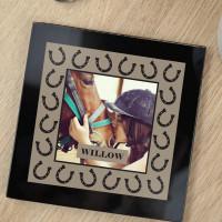 personalised Horse Shoe Border Black Glass Photo Coaster