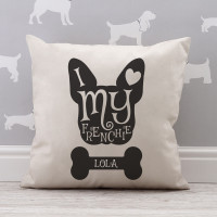 personalised i heart my frenchie cotton cushion