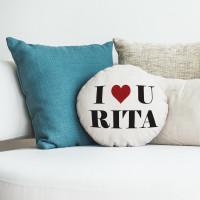 personalised i heart you round cushion