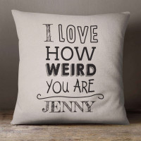 personalised Love Weird Cotton Cushion