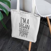 personalised I'm Vegan Canvas Tote Bag