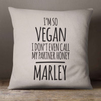 personalised im so vegan cotton cushion