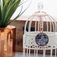 personalised Round Rose Gold Photo Keyring