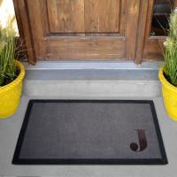personalised Corner Initial Grey Doormat