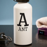 personalised initial white water bottle