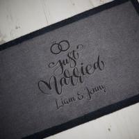 personalised just married doormat