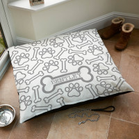 personalised Paw Bone Pattern Dog Bed