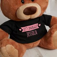 Personalised Let's Snuggle Caramel Teddy Bear
