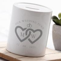 personalised Linked Hearts Wedding Fund Money Box