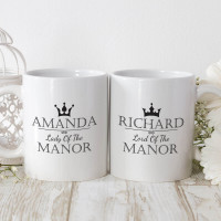 personalised lord and lady matching mugs