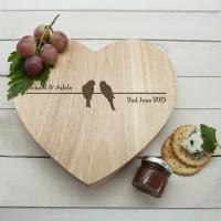 personalised Love Birds Heart Cheese Board