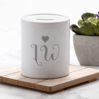 personalised Love Heart Initials Money Box