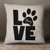 personalised Love Paw Cotton Cushion