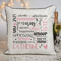 personalised love word cloud piped cushion