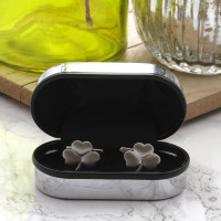 personalised Lucky Clover Cufflinks Gift Set