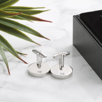 personalised rhodium plated lucky sixpence cufflinks