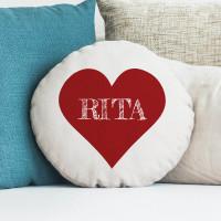 """personalised I Heart Name Round Cushion 18"""""""