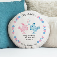 personalised Wedding Birds Round Cushion 18""