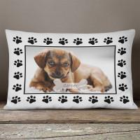 personalised Dog Paw Rectangle Photo Cushion