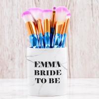 personalised Bride To Be Makeup Brush Pot