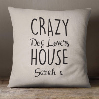 personalised Dog Crazy Cotton Cushion