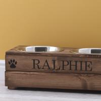 personalised Brown Double Raised Feeding Bowl